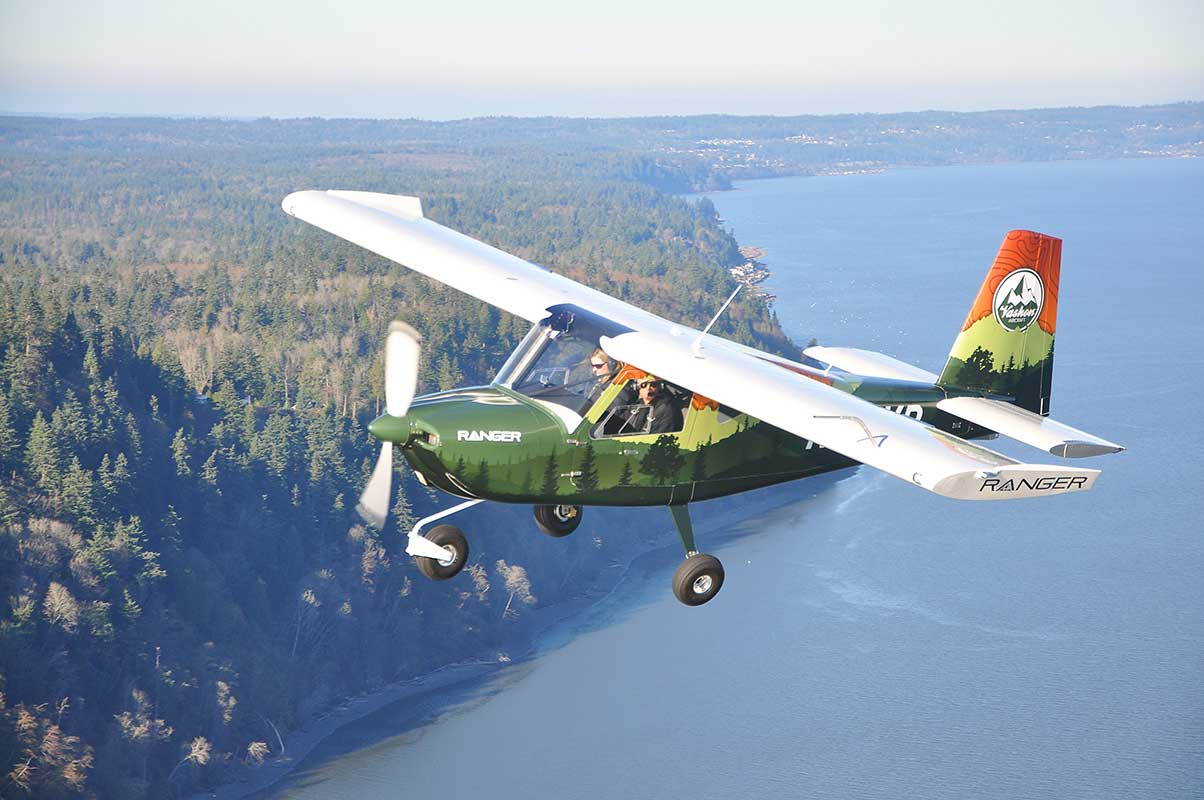 The Vashon Ranger R7 flying over the Puget Sound